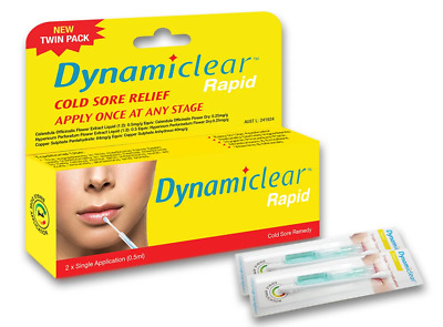 Dynamiclear Rapid - 2X  Single Application TWIN PACK - Cold Sore Treatment Fast