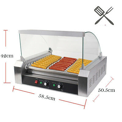 1650W 30 Hot Dog 11 Roller Grill Cooker Commercial Grilling Machine With Cover
