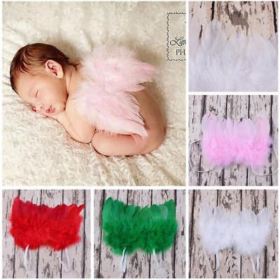 Lovely Newborn Baby Infant Feather Angel Wings+Headband Photo Props Costume Gift