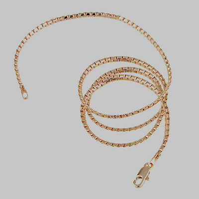 --10K Rose Gold Filled GF Solid Box Snake Chain Necklace 48cm Long 2mm Wide