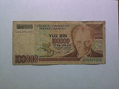 Old Turkey Paper Money Currency - #205 1970 (1991) 100,000 Lira Well Circulated