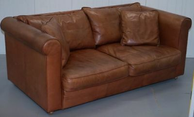 Rrp £2800 Soft Leather Collin & Hayes Brown Leather 2 Seater Contemporary Sofa