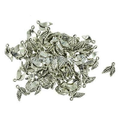 100pcs Tibetan Silver Leaf Charms Pendants Jewelry Findings Gift DIY Crafts