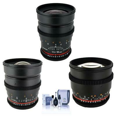 Rokinon T1.5 Cine Bundle for Canon EF-Mount With 24mm T1.5,35mm T1.5,85mm T15