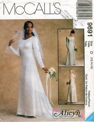 McCall's Alicyn Misses' Bridal Gowns, Dress Pattern 9691 Size 12-16 UNCUT