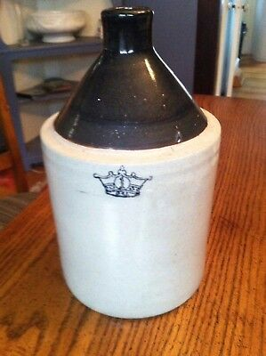 Beautiful Antique Blue Crown Pottery 1 Gallon Jug