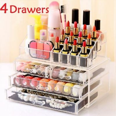Clear Acrylic Cosmetic Organiser with Drawers Makeup Jewellery Display Box Case