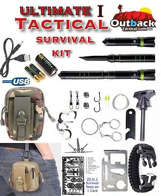 Ultimate Survival Waist Kit Carry Pouch T6 Flashlight & S30VSteel Knife/Saw