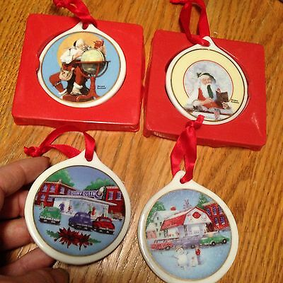4 - Dairy Queen and Norman Rockwell  Christmas Ornaments porcelain 1998-99