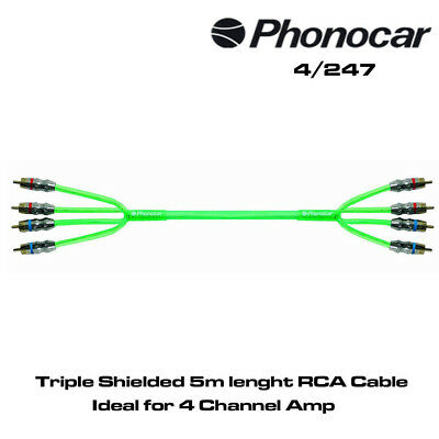 Phonocar 06037 Triple Shielded 5m Lenght RCA Cable ideal for 4 Channel Amplifier