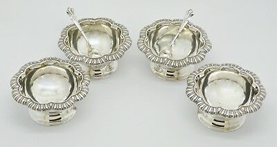 Rare Set Of 4 Beautiful Victorian Solid Silver Salts & 2 Matching Spoons Hm 1899