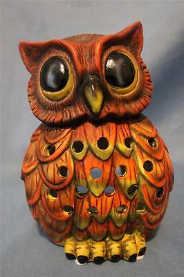 "Owl Statue CandleHolder Ceramic Figurine 8"" C New Colorful Wise Barn Hoot Owl"