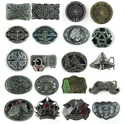 1PC New Western Vintage Men's Leather Belt Buckle Metal 20 Kinds of Pattern 3W