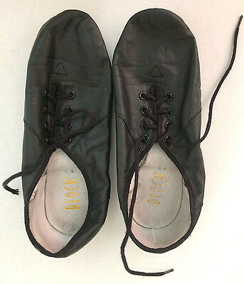 BLOCH Soft Leather Splitsole Jazz Shoes Lace up Black Girls Dance Size 5.5