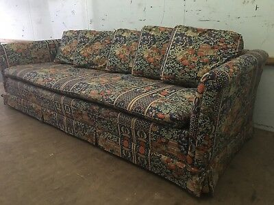 Vintage Asian Ethnic Bohemian Upholstered Sofa Couch