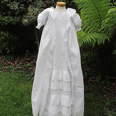 Antique/Victorian Whiteworked Long Christening Gown,Lace trim, Puffed sleeve's
