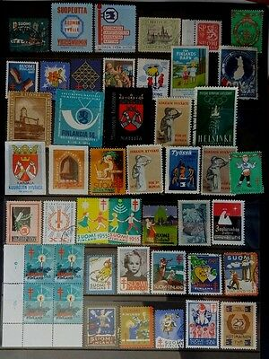 FINLAND 1930s - 1980s LOT OF 46 CINDERELLA LABELS INC OLYMPICS & TUBERCULOSIS