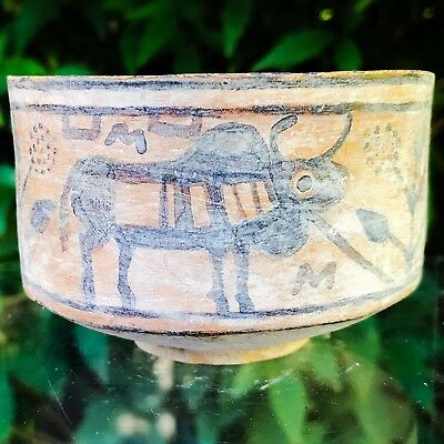 Rare Indus Valley Mehrgarh Polychrome Pot With Bulls  3rd-2nd Millennium BC