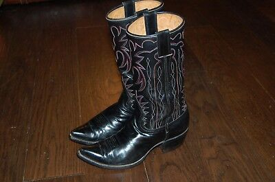 VTG Womens WESTERN Cowboy Boots USA CUSTOM Handmade Leather CARL McDOWELL