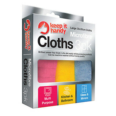 Pack Of 3 Microfibre Cloths Large 30 X 30 Cm Multi Purpose, Home, Car, Mirrors