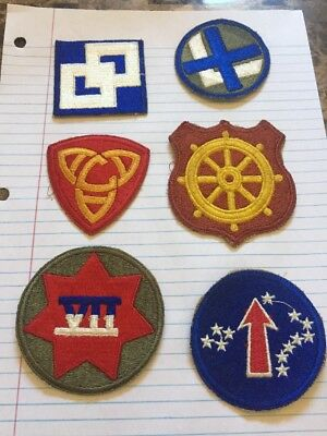 Lot Of 6 Cut Edge WW2 Patches