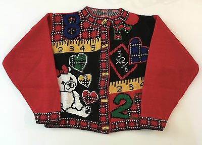 Girls Just For Kids Small Size 4 Red Sweater Cardigan School NOS