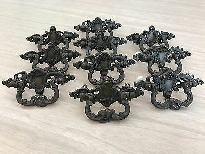 Lot 10 Antique Drawer Pulls Victorian Ornate Vintage Brass Metal Handle Hardware