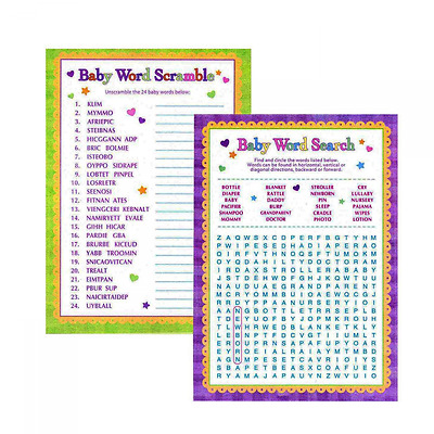 Adorox Baby Shower Word Search Word Scramble Games For Boy Girl