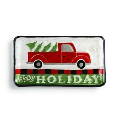 Demdaco Glass Pickup Truck & Christmas Tree Platter $50=FreeShipUS