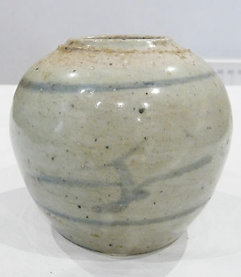 Antique Chinese Provincial Blue & White Stoneware Ginger Jar