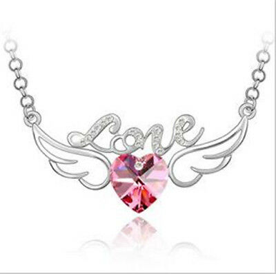 NEW Womens Heart Love Pink Crystal Rhinestone Silver Chain Pendant Necklace