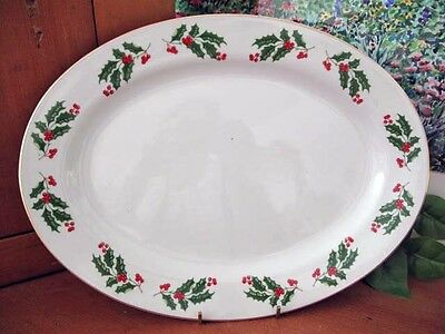 CHRISTMAS HOLLY by All The Trimmings Oval Serving Platter ~ 14 Inches