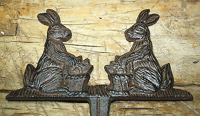 Cast Iron BUNNY Sign Garden Stake Home Decor RABBIT Plaque Easter Basket Spring