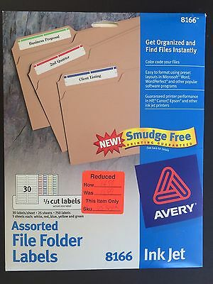 25 sheets of 30= 750 File folder labels COLORS Avery 8166 Inkjet Smudge Free