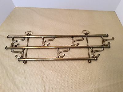 Antique Brass Wall Mount Rack W/ 7 Swivel Hooks - Coat Hat Towels  Mugs Keys