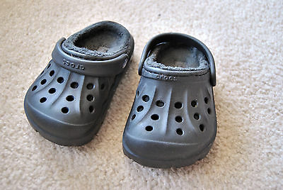 black Crocs Baby Shoes Size 6C To 7C lined