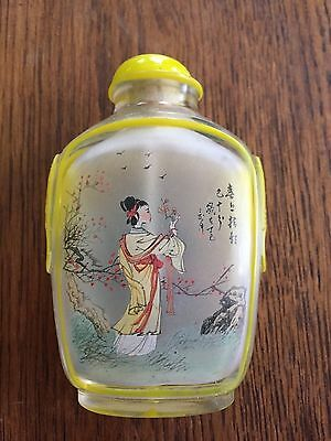 Vintage Oriental Painted Glass Snuff Bottle