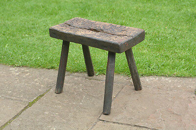 old vintage wooden milking  stool - FREE POSTAGE