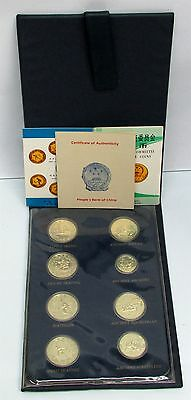 1980 COMPLETE CHINA GOLDEN 1 YUAN OLYMPIC 8 COIN CHOICE ORIGINAL SET BOX & COA's
