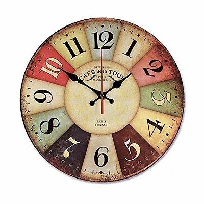 Wood Wall Clock Vintage Colorful France Paris French Country Tuscan Retro