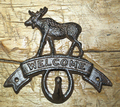 Cast Iron MOOSE WELCOME Towel Coat Hooks Hat Hook Key Rack CABIN Hunting Camp