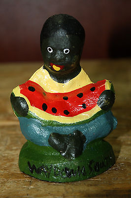Cast Iron Antique Style Black Boy Eating WATERMELON Southern Americana