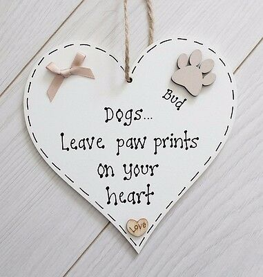 Personalised 'Dogs Leave Paw Prints' Pet Memorial Heart Plaque Gift Sign Cats