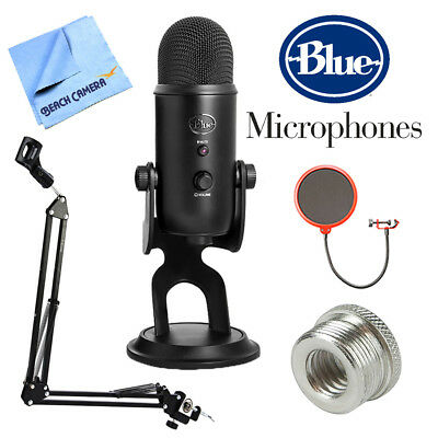 BLUE MICROPHONES Yeti Professional USB Desk Microphone w/ Accessories Bundle