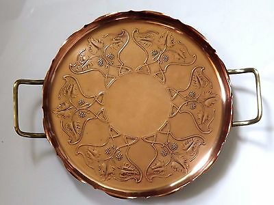 Antique Art Nouveau Copper & Brass Tray By Joseph Sankey c.1905 - 1910