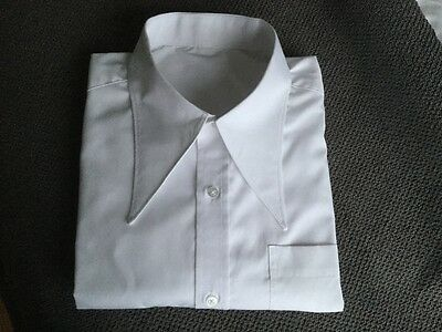 "Men's White 1940's vintage style WWII 15.5""spearpoint collar shirt"