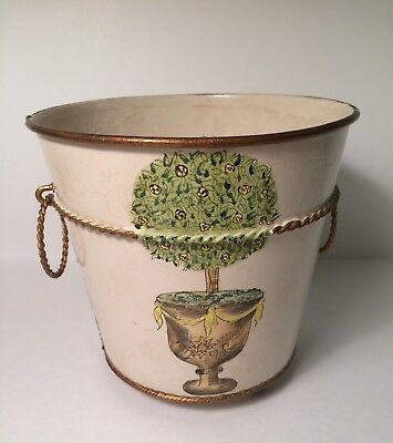 Vintage Metal Tole Cachepot Planter French Urn with Topiary ~Very Charming~