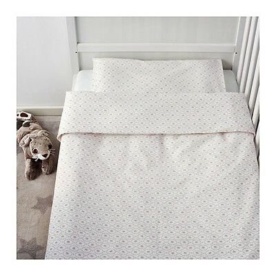 IKEA HJÄRTEVÄN Crib Duvet Cover/Pillowcase White Beige Hjartevan Nursery Bedding