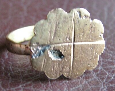 Ancient Artifact > Medieval Bronze CROSS Finger Ring SZ: 10 US 19.75mm 14785 DR