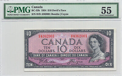✪ 1954 $10 Bank of Canada Devil Face H/D - 179.95 PMG About Uncirculated 55